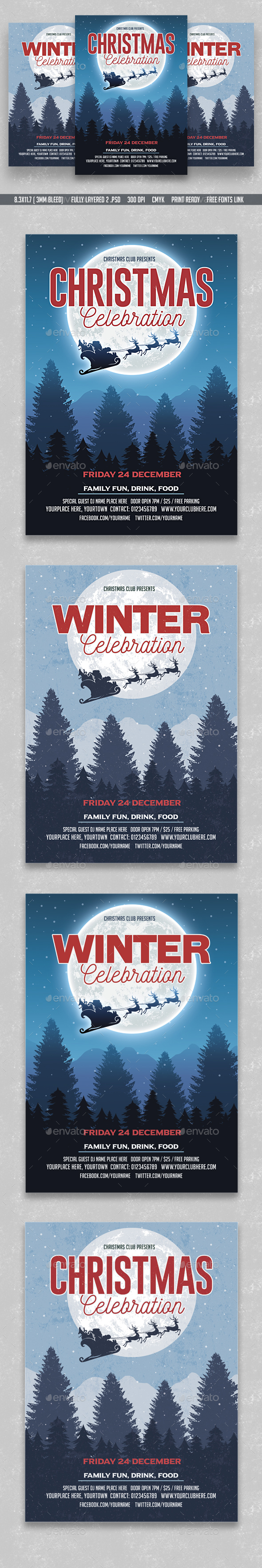 Christmas Winter Party Flyer - Flyers Print Templates