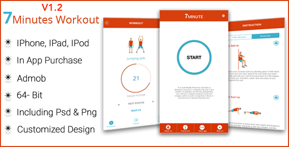7 Minute Workout IOS Full Application + WatchKit - CodeCanyon Item for Sale