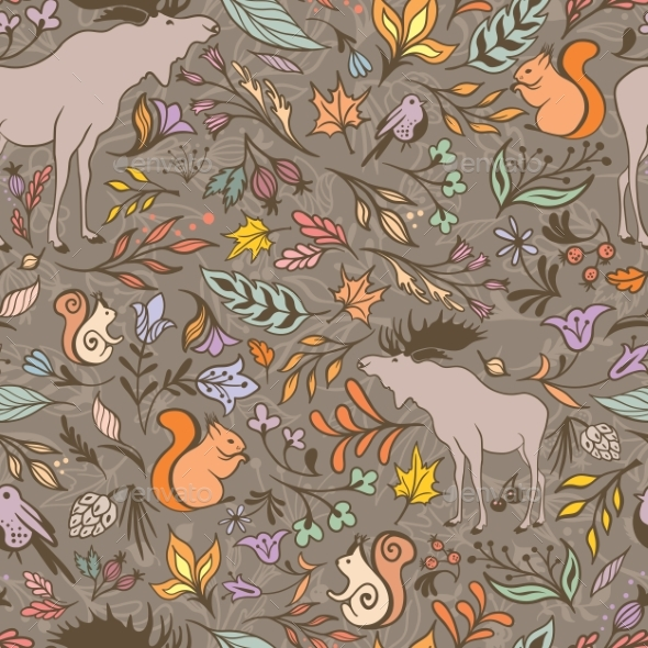 Vector Fall Forest Pattern - Seasons Nature