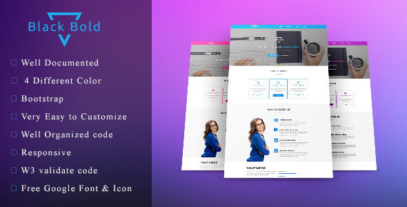Black Bold – One page agency / startup template