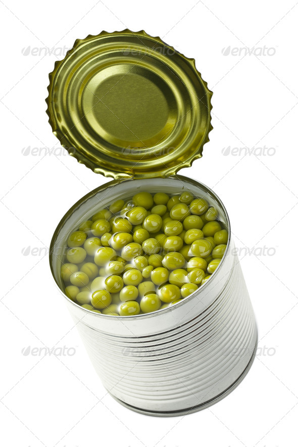 canned green peas - Stock Photo - Images