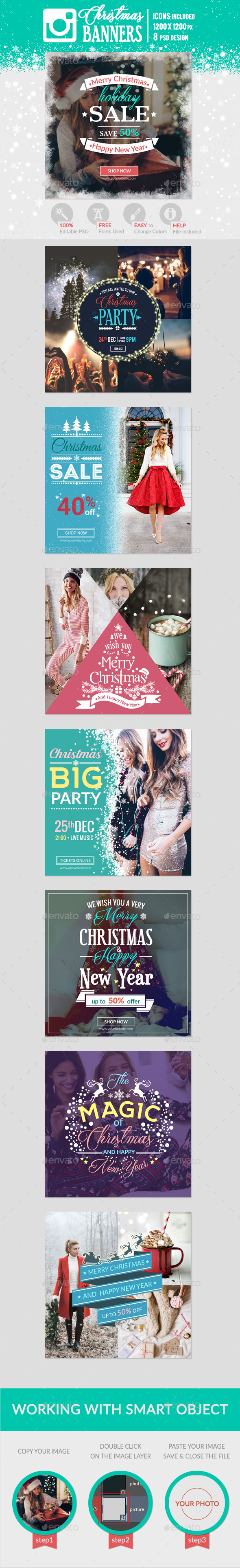 Instagram Christmas Banners - Banners & Ads Web Elements