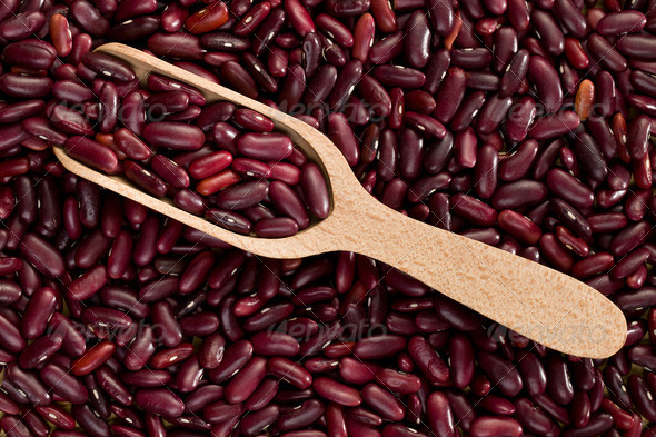 red beans in wooden scoop - Stock Photo - Images