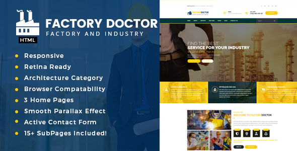 Factory Doctor – Factory & Industrial Business Template