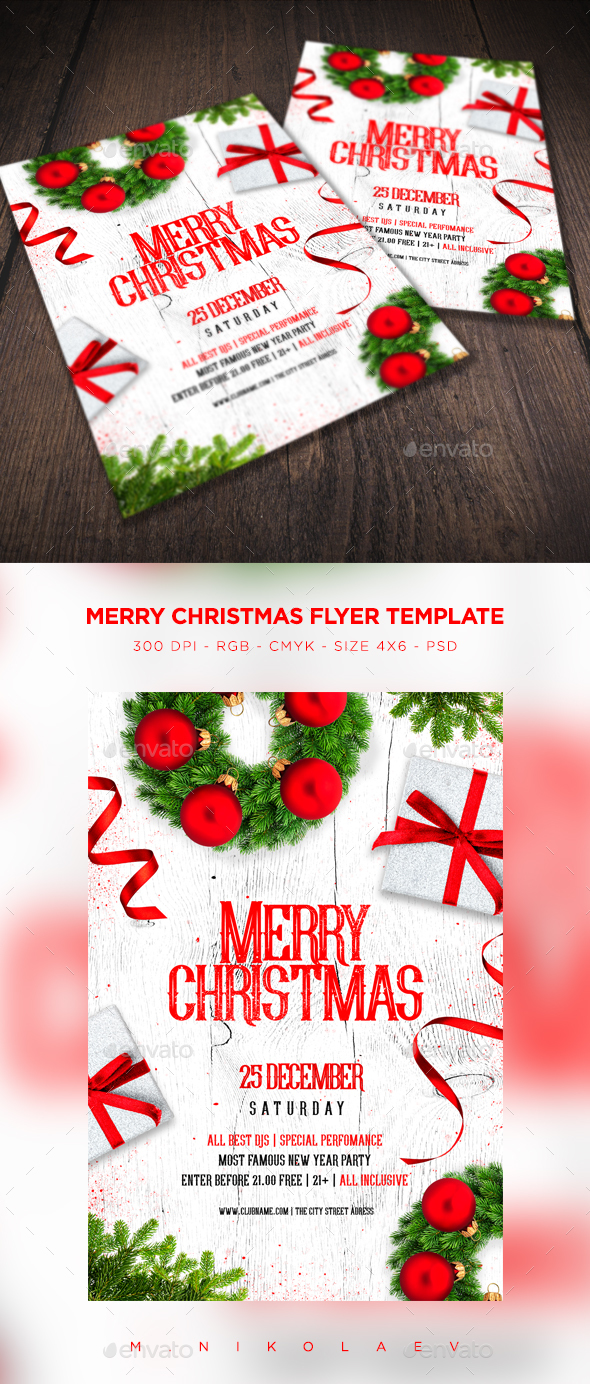 Merry Christmas Flyer V9 - Clubs & Parties Events