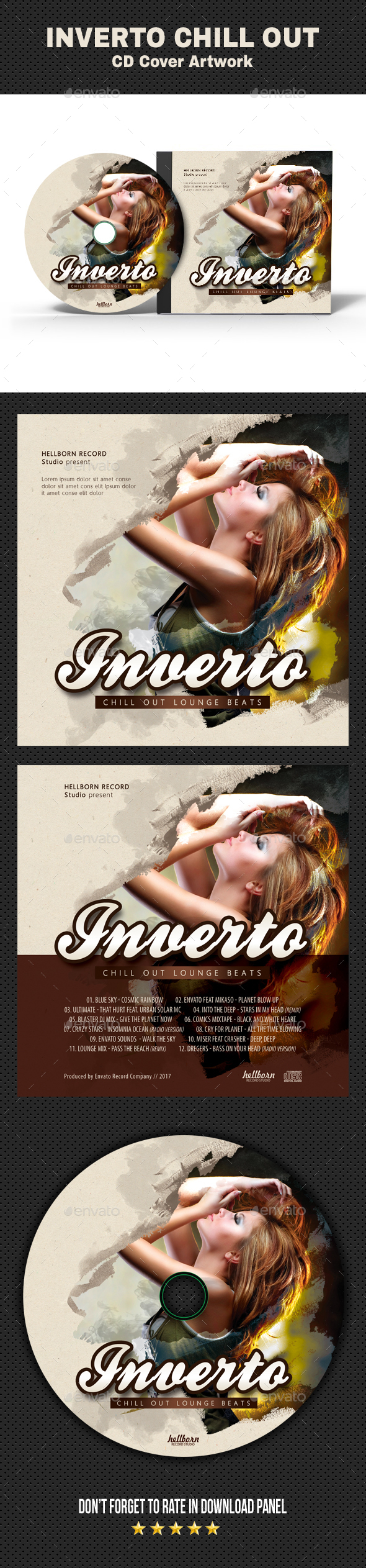 Inverto Music CD Cover 2 - CD & DVD Artwork Print Templates