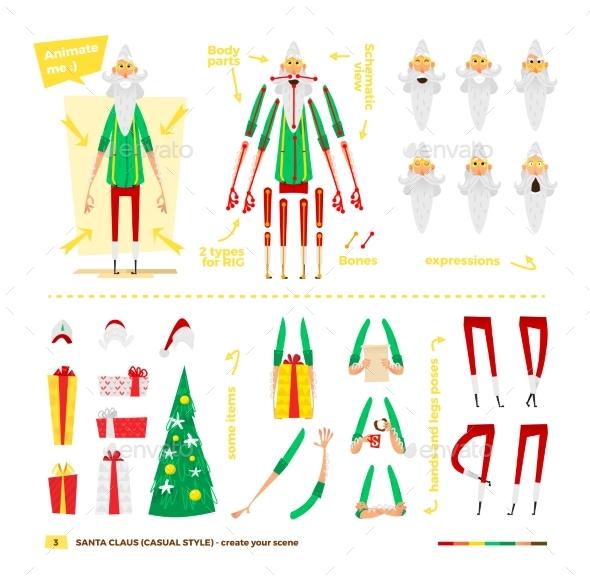 Santa Claus Set For Animation. - Christmas Seasons/Holidays