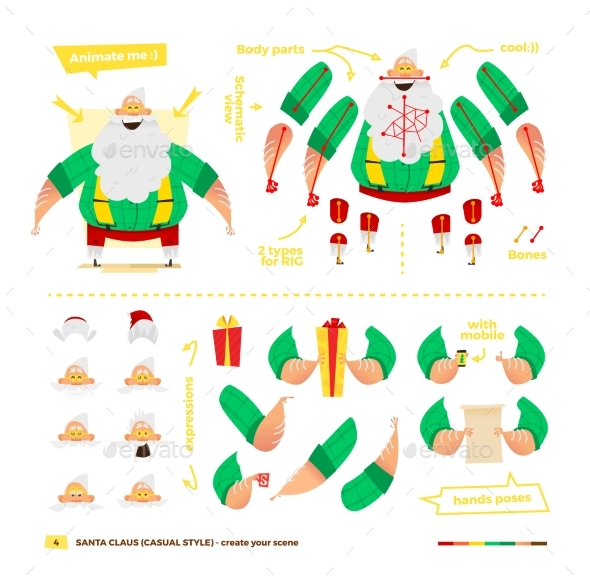 Santa Claus Set For Animation. - Christmas Seasons/Holidays