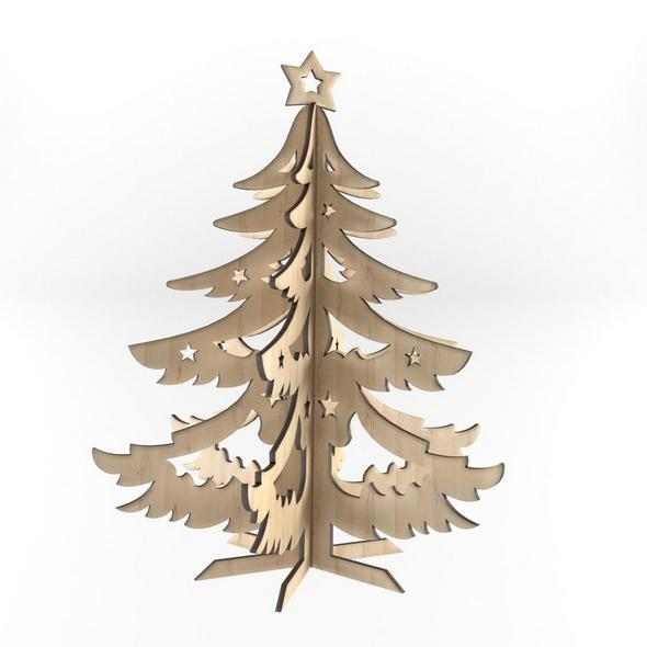 Decorative wooden New Year tree - 3DOcean Item for Sale