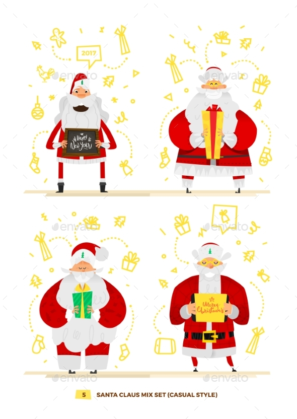 Santa Claus Set For Your Design. - Christmas Seasons/Holidays