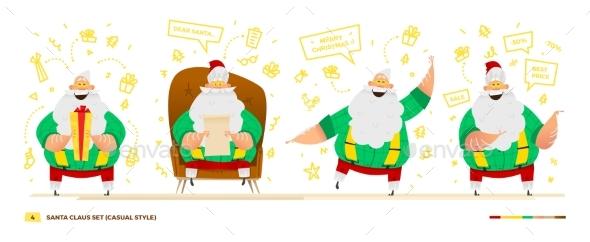 Santa Claus Set For Your Design. - Christmas Seasons/Holidays