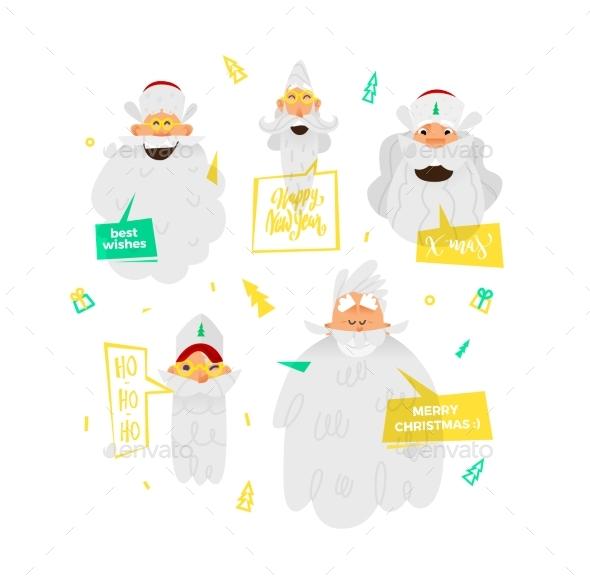 Santa Claus Happy Faces. - Christmas Seasons/Holidays