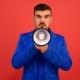 Unkind Man Speak In Megaphone, Shouts In Speaker. - VideoHive Item for Sale