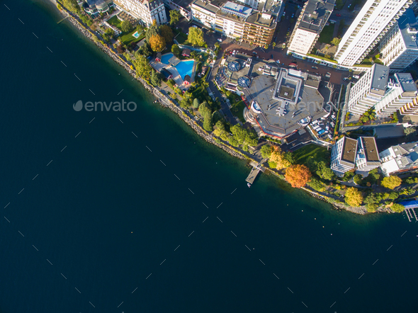 Aerial view of Montreux waterfront, Switzerland - Stock Photo - Images