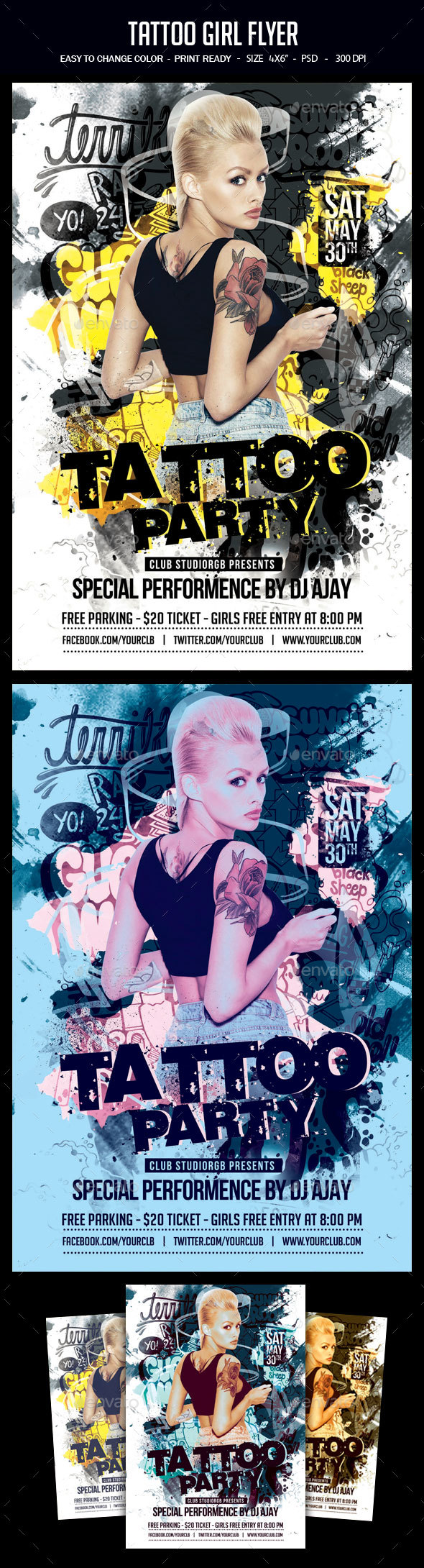 Tattoo Girl Flyer - Clubs & Parties Events