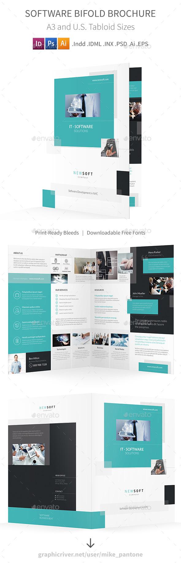 Software Company Bifold / Halffold Brochure - Informational Brochures