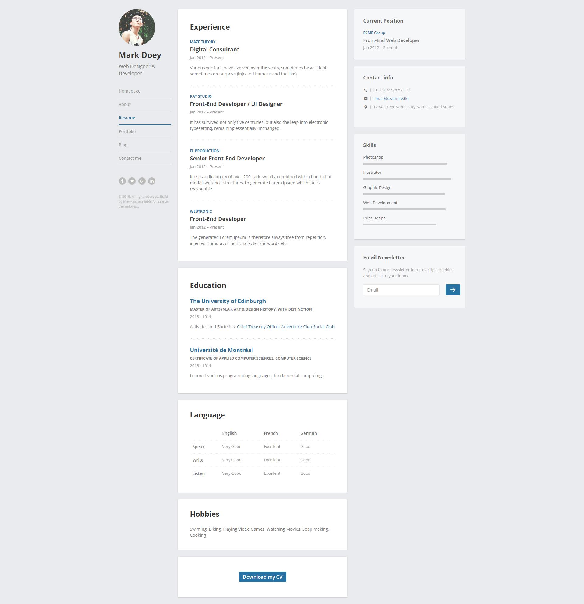 Prosume - Resume / CV & Virtual Business Card (vCard) by Mawkaa ...