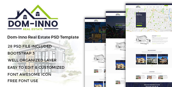Dom-Inno Real Estate PSD Template - Business Corporate