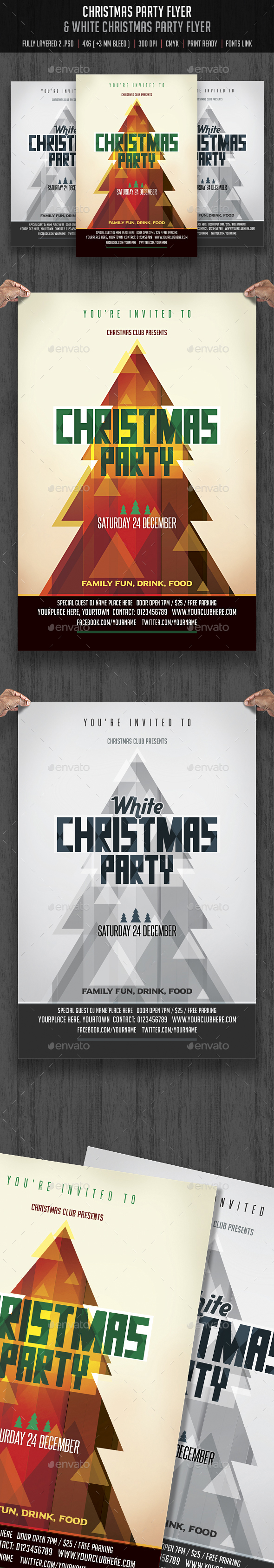Christmas u0026 White Christmas Party Flyer