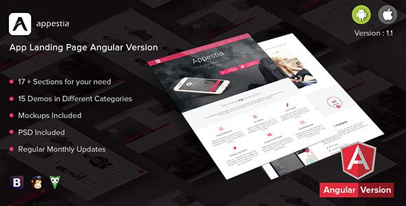 Appestia – App Landing Page Angular Version