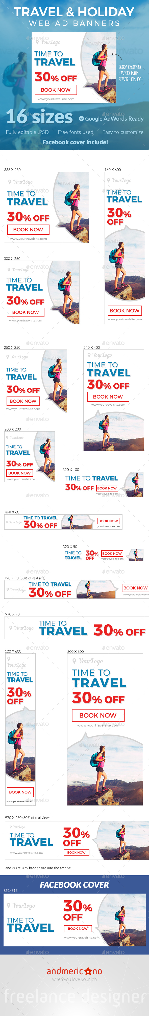Travel & Holidays Ad Banners - Banners & Ads Web Elements
