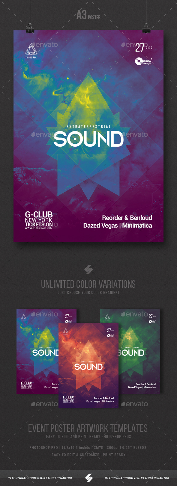 Extraterrestrial Sound - Progressive Party Flyer Template A3 - Clubs & Parties Events