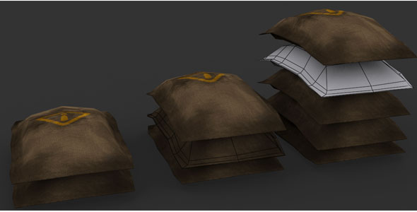 Jute Bags 3d Model - 3DOcean Item for Sale