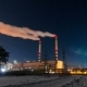 Polluting Factory At Night.  Night Winter Power Station - VideoHive Item for Sale