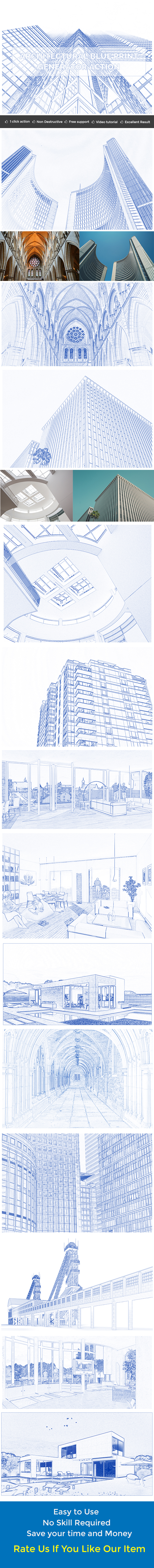 Architectural Blue Print Generator Action - Photo Effects Actions