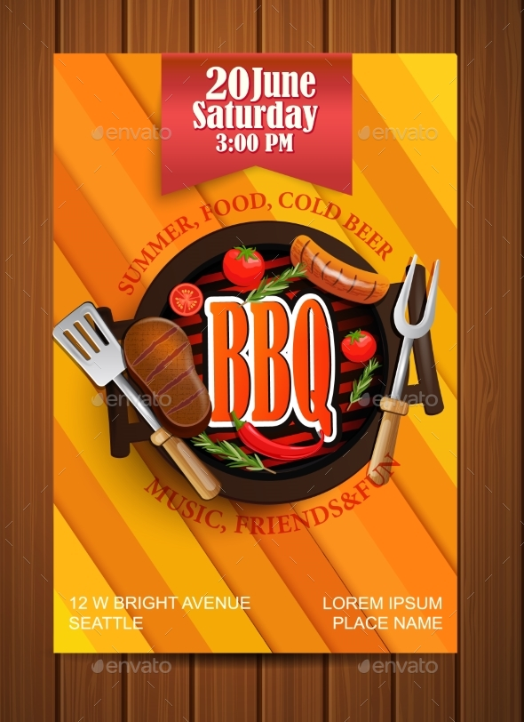 BBQ Grill Flyer With Elements. - Food Objects