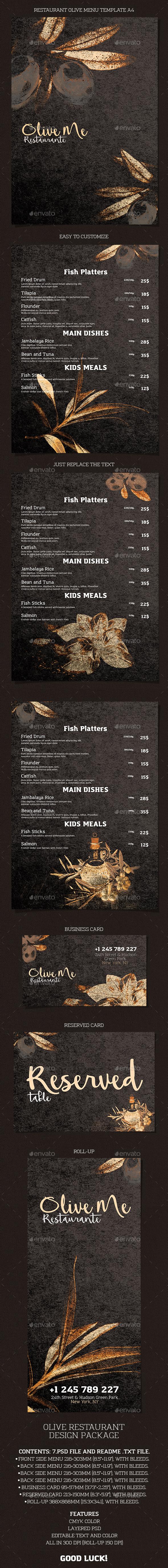 Menu Restaurant Olive - Restaurant Flyers
