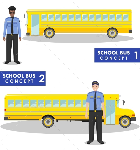 School Bus Concept.  - People Characters