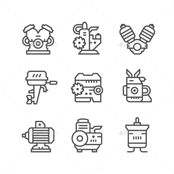 Set Line Icons of Motor and Engine - Man-made objects Objects