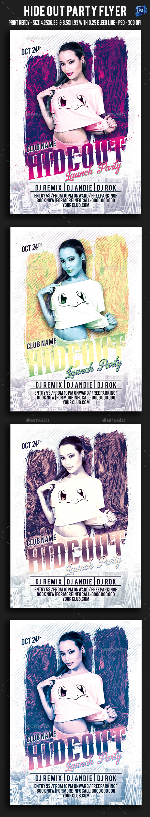 Hide Out Party Flyer - Clubs & Parties Events