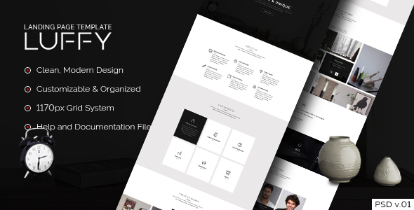 Luffy – Landing Page PSD Template