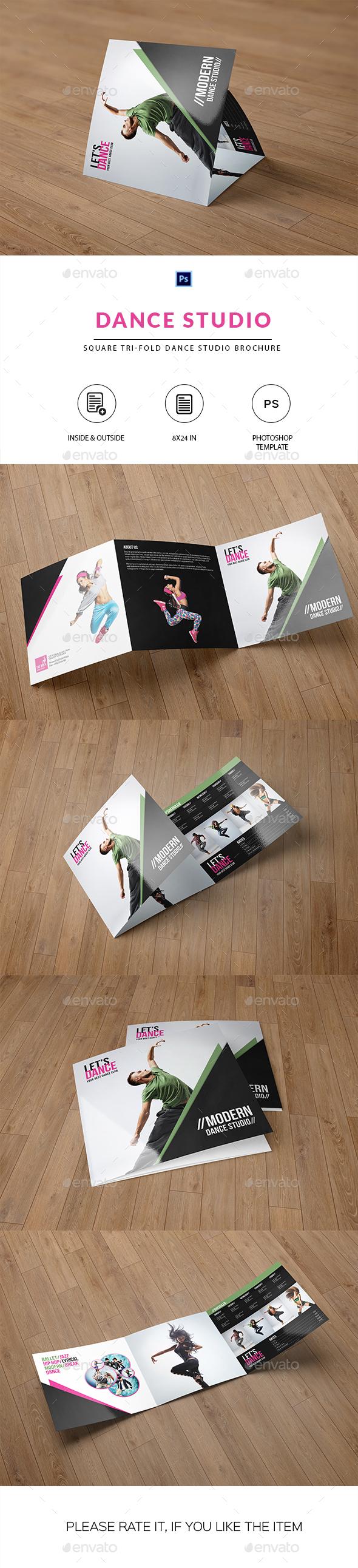 Square Trifold Brochure for Dance Studio - Corporate Brochures