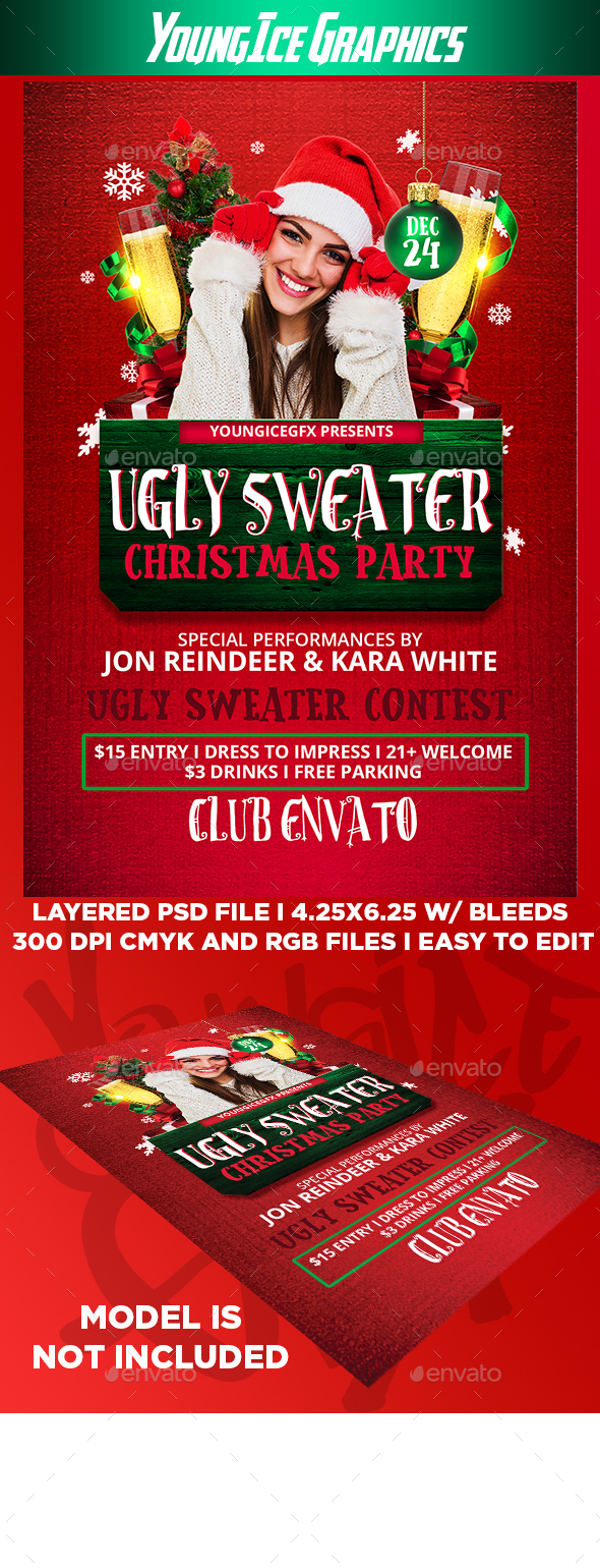 Ugly Sweater Party Flyer Template - Clubs & Parties Events