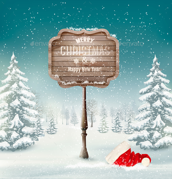 Winter Background With Landscape And A Wooden Vector - Christmas Seasons/Holidays