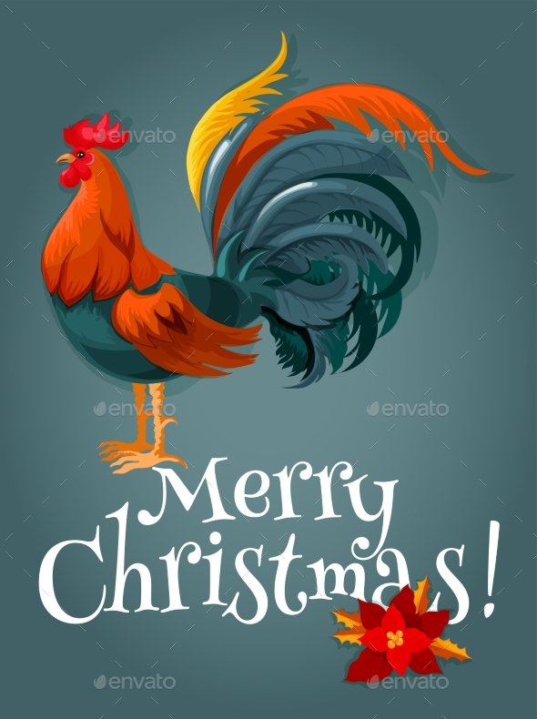 Christmas And New Year Card With Fire Red Rooster - Christmas Seasons/Holidays