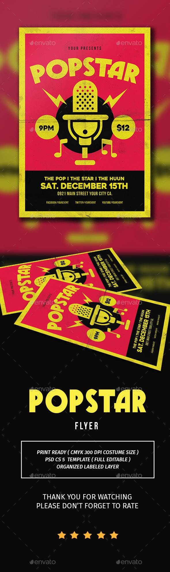 Popstar music flyer - Flyers Print Templates