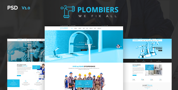 Plombiers – Plumber, Repair Services PSD Template