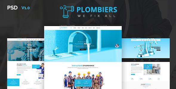 Plombiers - Plumber, Repair Services PSD Template