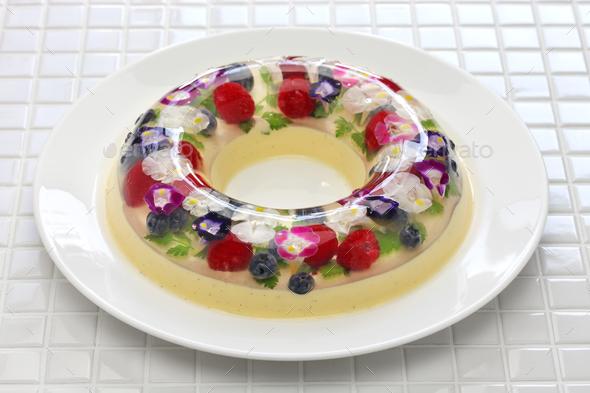 christmas wreath bavarois, homemade jelly dessert - Stock Photo - Images