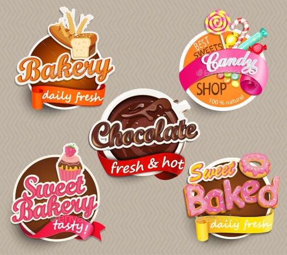 Food Label Or Sticker Design Template - Food Objects
