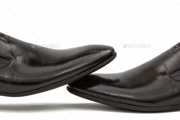 Men's classic black leather shoes, isolated on white background - Stock Photo - Images