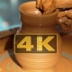 Creation Of Clay Pot.  Of Hands Working Clay On Potter's Wheel - VideoHive Item for Sale