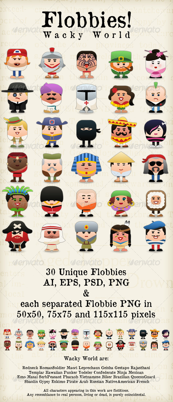Flobbies! Wacky World - People Characters