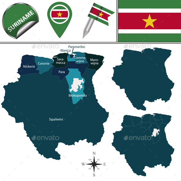 Map of Suriname with Named Districts - Travel Conceptual