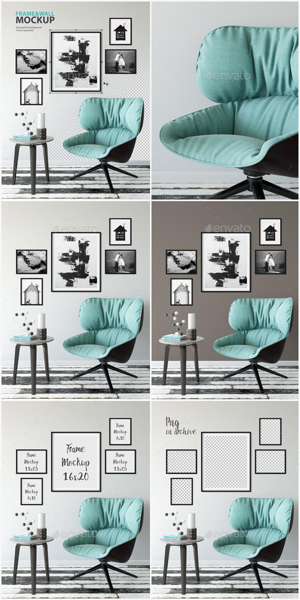 Frame & Wall Mockup 09 - Product Mock-Ups Graphics