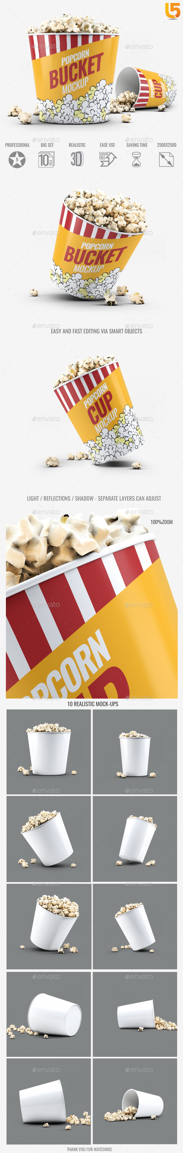 Popcorn Bucket & Cup Mock-Up - Food and Drink Packaging